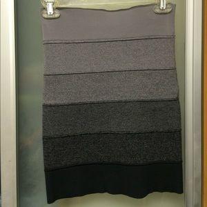 Elastic pencil stripes shades of grey skirt mini